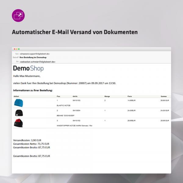 Automatischer E-Mail-Versand von Dokumenten (Bestellabschluss / Statusänderung)
