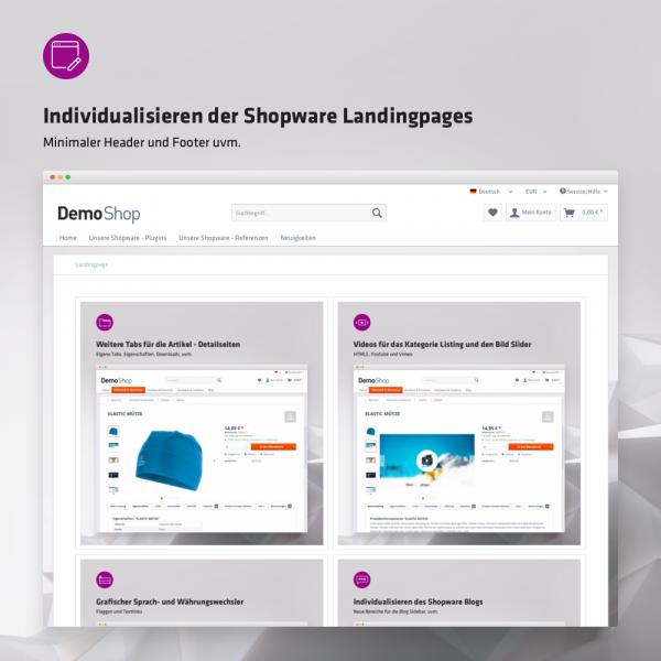 Individualisieren der Shopware Landingpages (minimaler Header und Footer, uvm.)